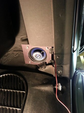 4 inch coax PYLE speaker under Pontiac GTO dash